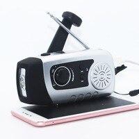 Solar Power Radio Crank FM Radio Hand Crank Dynamo 1W Super Bright Flashlight 2000mAh Emergency Phone