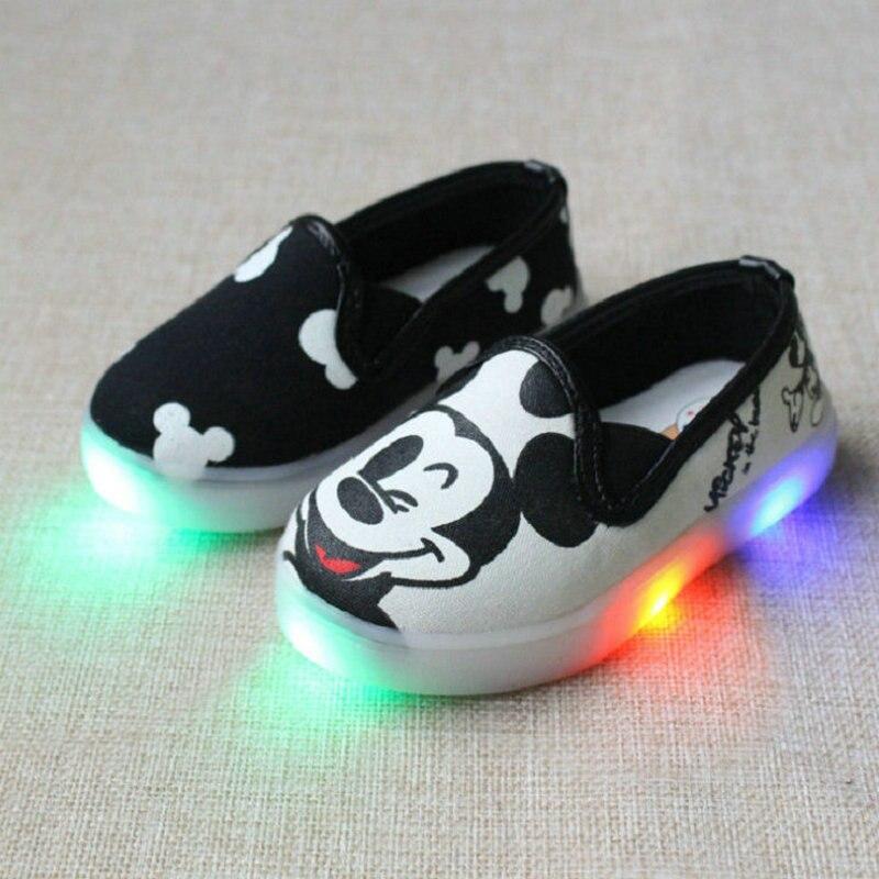 Fashion Hello Kitty Børn Lette Sko Til Piger Baby Legetøj Sneakers Mickey LED Sneaker Børn Sko For Boys Chaussure Enfant