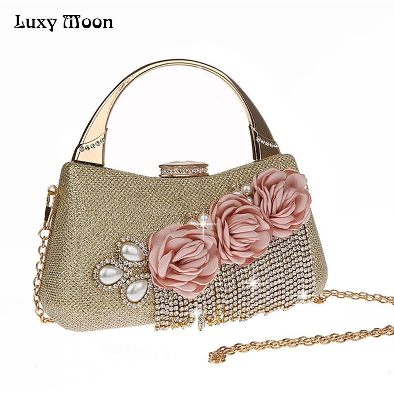 LUXY MOON Women Handbag Fashion Flower Tassels Day Clutches Diamond Beaded Womens Purse Wallet Wedding Bags with Chain ZD740