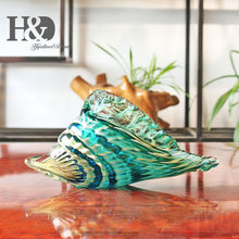 "8.9"" Hand Blown Seashell Conch Sculpture Glass Murano Art Style Ocean Animal Paperweight Home Office Decorative Figurines"