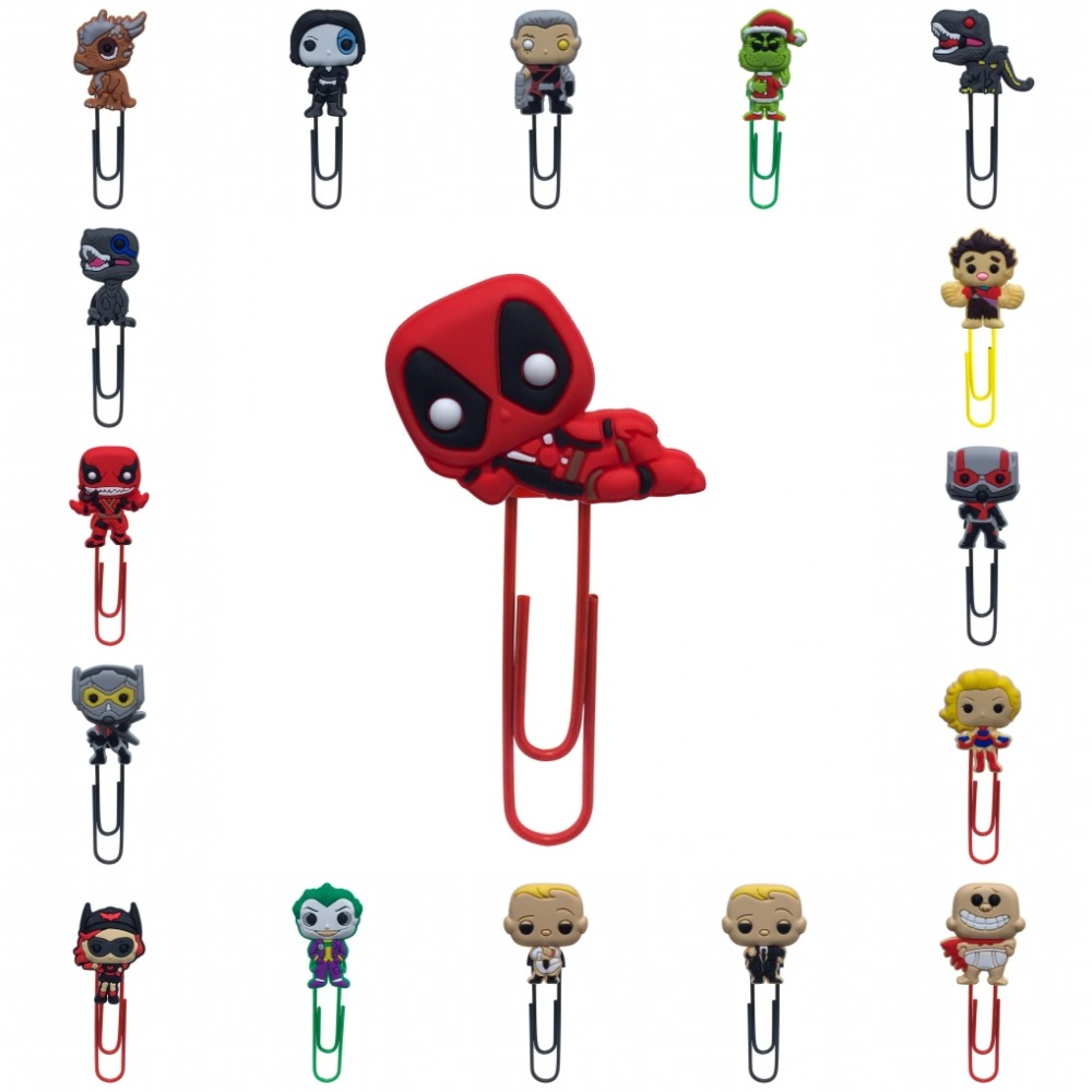 1Pcs Cartoon Deadpool Figures Bookmarks Ant-Man Paper Clips For School Teacher Office Supplies DIY Decoration For Kids Gifts