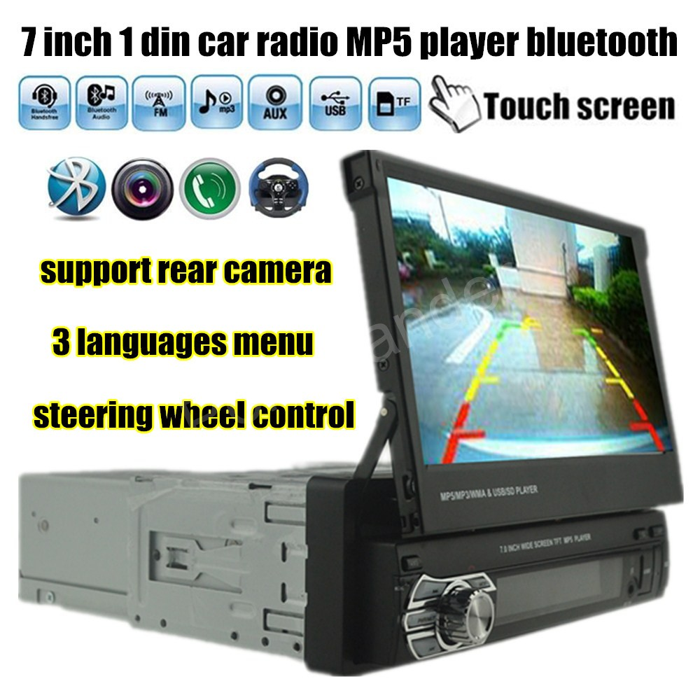 steering wheel control 7 inch 1 Din Car Audio stereo MP5 MP4 Player Bluetooth Radio USB/TF/FM/Aux/Rear Camera Input touch screen