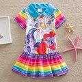 Vestido de los niños ropa de los bebés casual moda 2017 verano de la historieta little pony niños del vestido del vestido vestido de manga corta