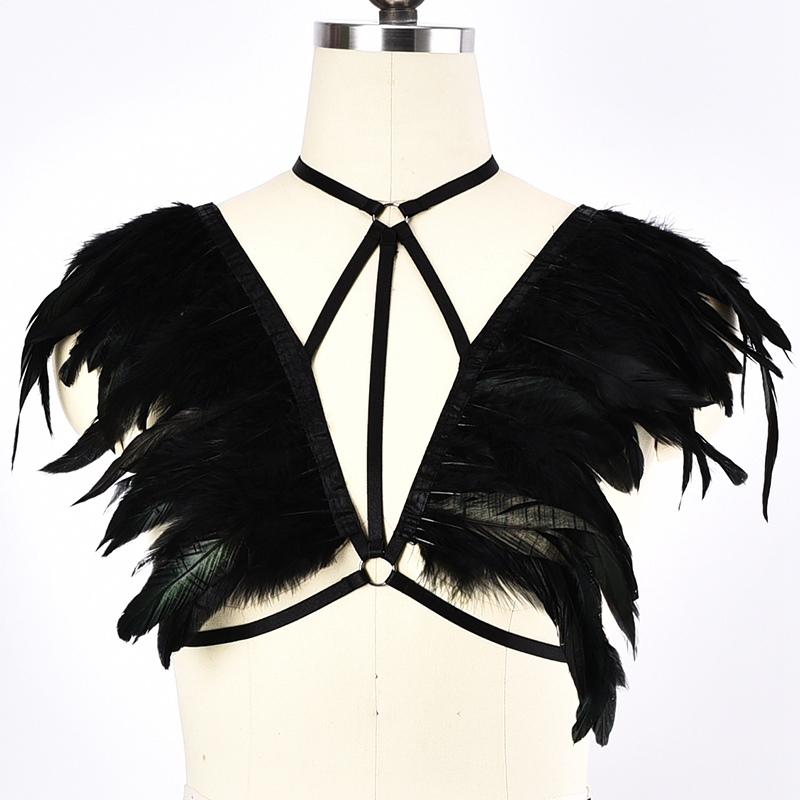 Buy BODY HARNESS Women Black Feather Cage Bra Elastic Adjust Fetish Sexy Lingerie Goth Top Cage Bondage Harness Belt Rave Bra