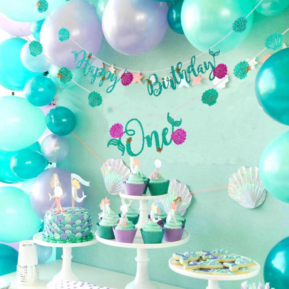 HUIRAN Romantic Mermaid Party Supplies Decoration Birthday Favors Kids Parties Decorations Girl