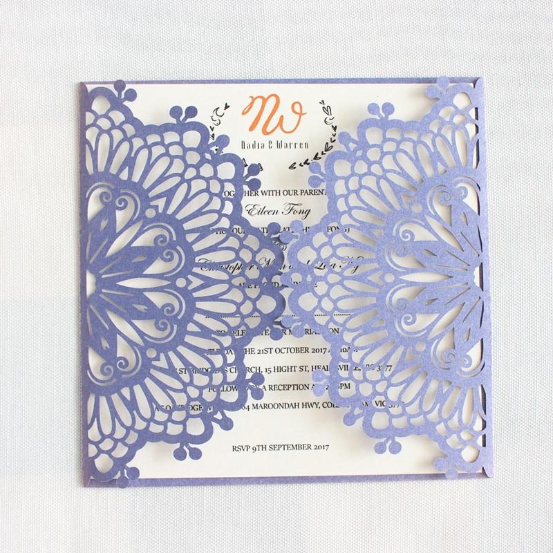 Brides Wedding Invitation Kit: Rustic Wedding Invitation Kit White Silver Grey Blue Pink