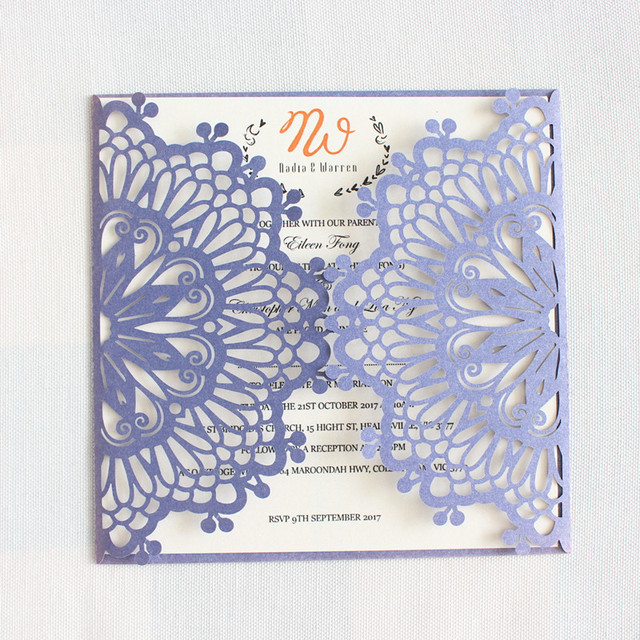rustic wedding invitation kit white silver grey blue pink laser cut bridal shower invitation covers 50pcs