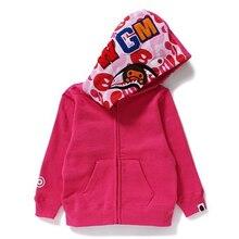 Bape камуфляж куртка Акула Капюшоном молния свитер С Длинными рукавами мальчик пальто дети дети толстовка девушки одежда Семья