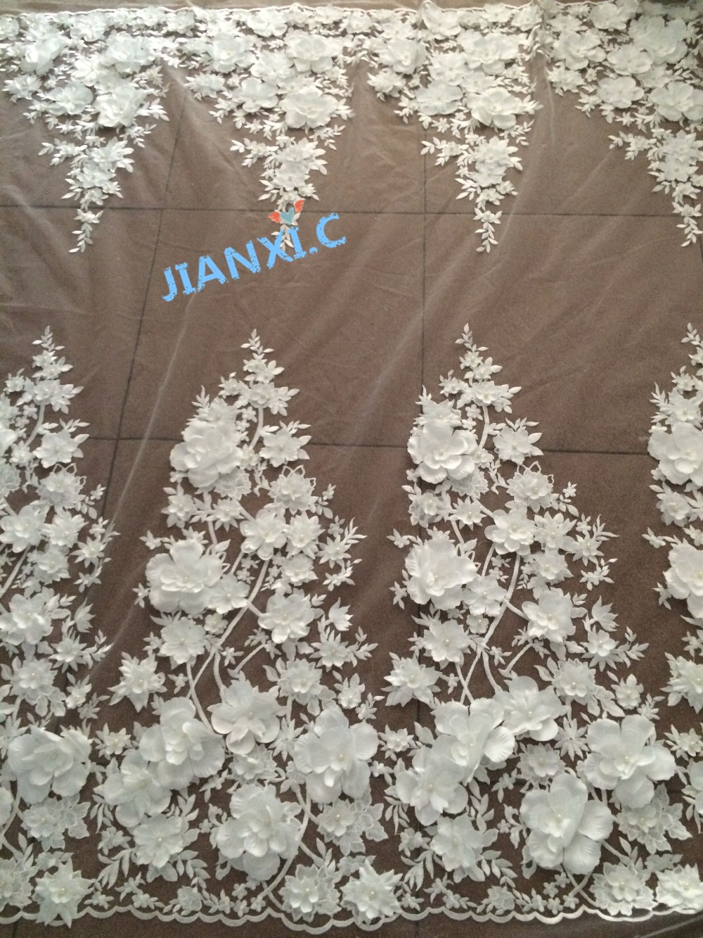 ship by dhl 3d flower white embroidery mesh tulle fabric JIANXI C 72802 with beads african