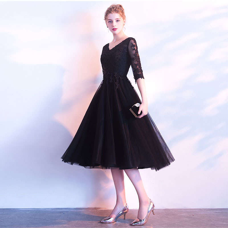 Elegant Tea Length Black   Prom     Dresses   V-Neck Illusion Half Sleeves Short Formal Party Evening   Dresses   Best Sell Cheap   Prom   Gown