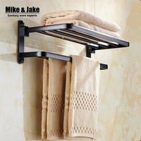 Whole aluminum folding black bath towel rack Active bath towel shelf bathroom towel holder black Double towel shelf MH6005