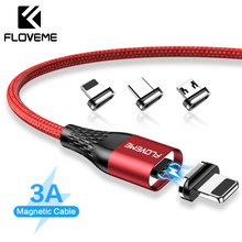 FLOVEME Magnetic USB Cable For iPhone Micro USB Type C 3A Fast Charging Cable For Samsung Xiaomi Huawei USB C Charger Cable Cabo(China)
