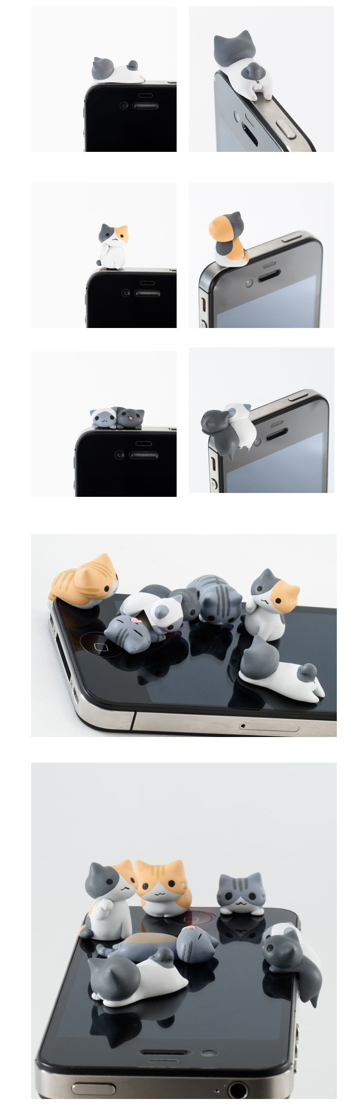 6 Piece Sent At Random Universal 3.5mm phone Earphone Jack Plug Super Cute Dust Plug Cat Cute kitten dust-proof Stopper Cap 5