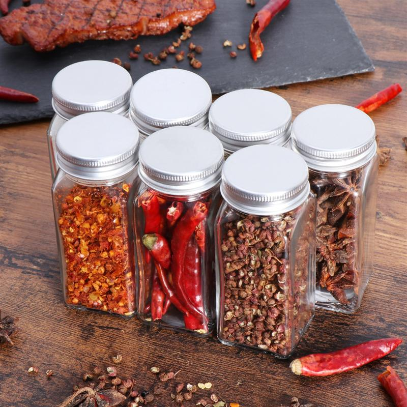 Seasoning Bottle Containers Spice-Jars Glass Square Kitchen Camping 12PCS With Cover-Lid