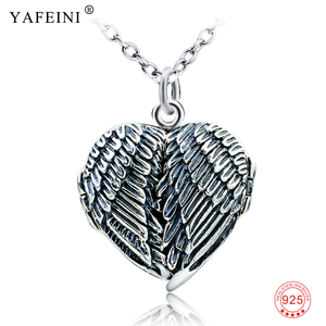 Vintage 925 Sterling Silver Angel Wings Locket Charms Necklace Women Pendant Necklaces Jewelry Gift Photo Frame Necklace Choker(China)