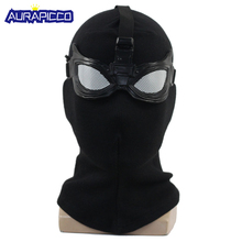 New Spider-Man Far From Home Stealth Suit Mask Cosplay Spiderman Black Helmet with Goggles Glasses Halloween Accessories