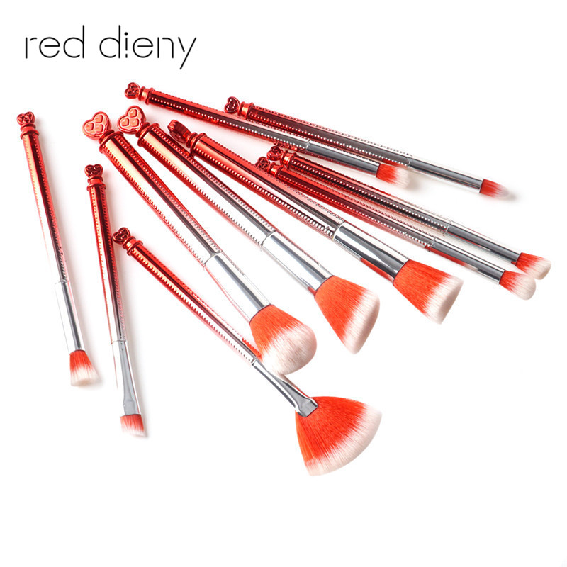 10PCS Red Makeup Brushes Set Heart Shape Handle Powder Foundation Fan Brush Blush Bronzer Contour Eyeshadow Beauty Cosmetic 12 red blush