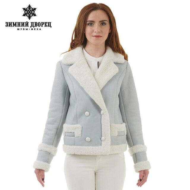 sobretudo feminino Real fur women fur coat  Fashion Slim Fur women coats Suede leather coat sheepskin coat Popular Light blue