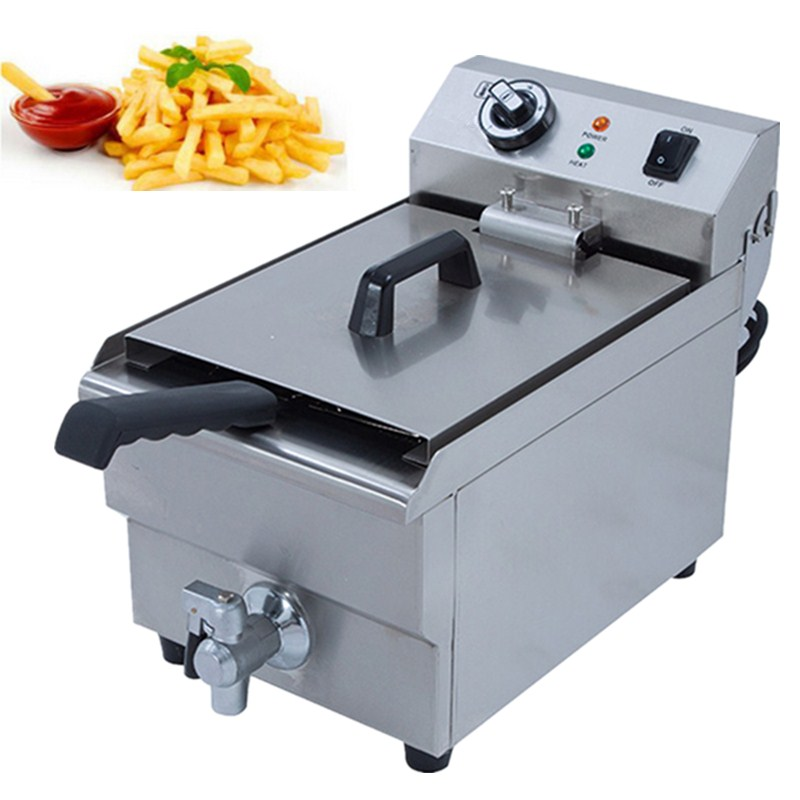 Commercial Electric Fryer 10L Single Tank Stainless Steel Deep Fryer For Restaurant Make French Fries/Chicken Chop 220v electric deep fryer 8l commercial air fryer potato chip french fries chicken fryer