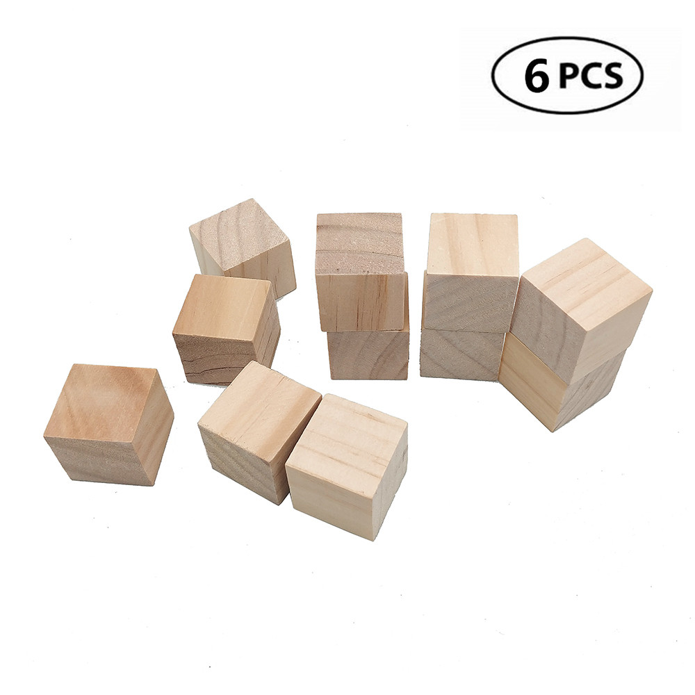 Us 259 43 Off6pcs 30mm 118inch Natural Solid Cube Wooden Unfinished Craft Wood Log Slices Blocks Wood Cubes Mdf Wood For Diy Craft Gift In Wood