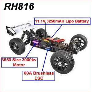 Image 2 - VRX Racing RH816 brushless 1/8 scale 4WD Electric off road rc car,RTR/60A ESC/3650 motor/11.1V 3250mAH Lipo Battery/2.4GHz
