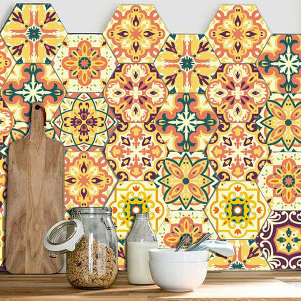 10 Pcs Floor Stickers Gold And Red Simple Hexagon European Style ...