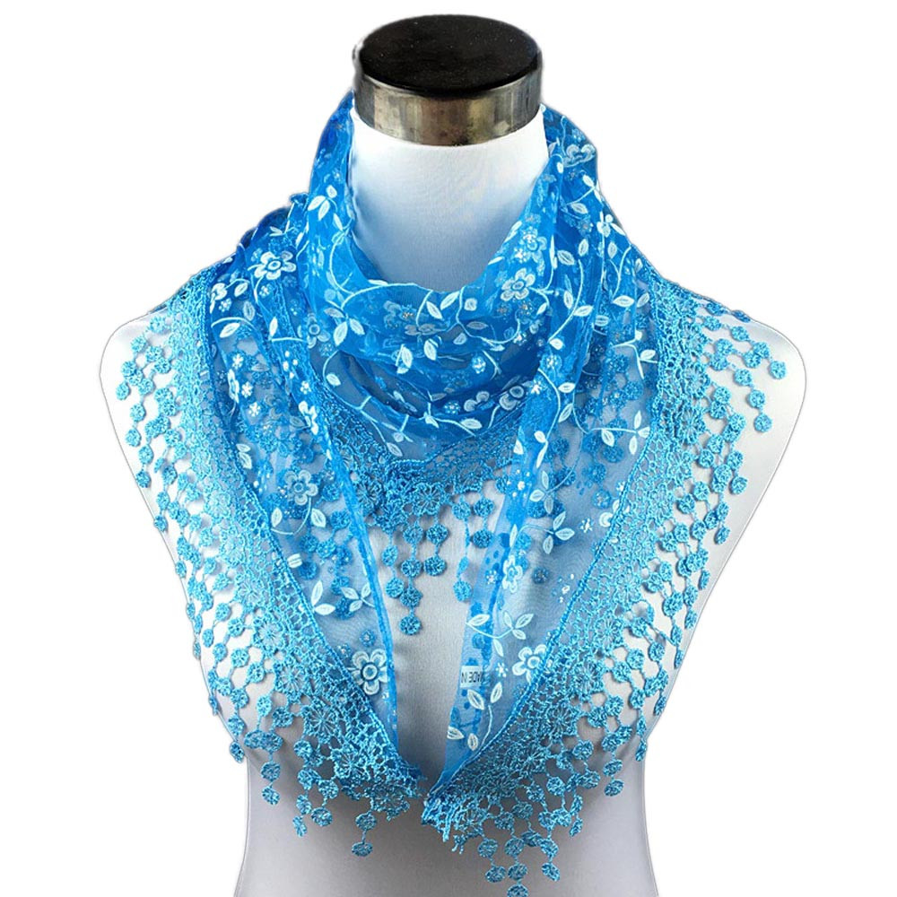 196438d37746b 2018 New Hot Ladies Lace Scarf Tassels Sheer Metallic Women Bandage Floral  Print Scarves Shawl Wrap for Four Seasons All-match