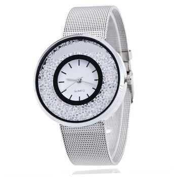 Ladies Silver Stainless Steel Quartz Gold Diamond Women Watches
