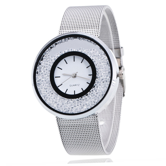Ladies Silver Stainless Steel Quartz Watch PINBO Luxury Gold Diamond Women Watch