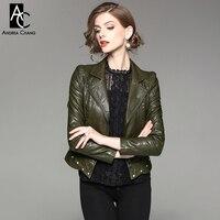 Outono inverno mulher casacos casacos preto verde exército vermelho PU jaqueta de rebite inferior zipper pockets magro moto biker de couro PU jaqueta