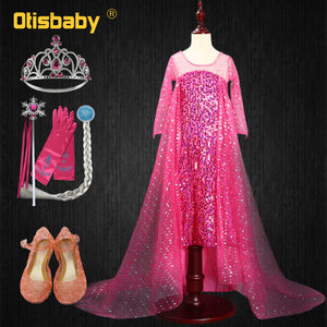 Girls Elsa Aurora Dress Princess Rapunzel Costume Children Elegant Wedding Party Dress Girl Pink Sequin Birthday Evening Gown(China)