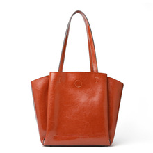 Women's New Leather Tote Bag European and American Fashion Vertical Tote Bag Large Capacity One Shoulder Solid Color Soft Case