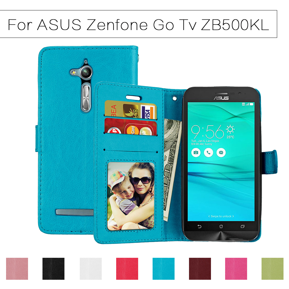 Wallet Case For ASUS Zenfone GO TV ZB500KL ZB500KG Flip Cover PU Leather Stand Holder Cases For ASUS GO zb500kl Shells Silicone