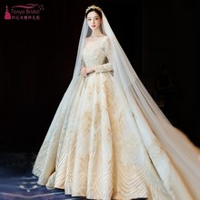 Glamorous Appliques Chapel Train Gold Ball Gown Wedding Dress 2019 Fashion  Long Sleeve Bridal Dress Vestido 02adf739ceb3