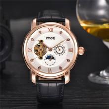 MCE Мода Tourbillon Золотой Наручные Часы Кожаный Ремешок Luxury Brand Мужчины Часы Фаз Луны Механические Часы Мужчины Часы