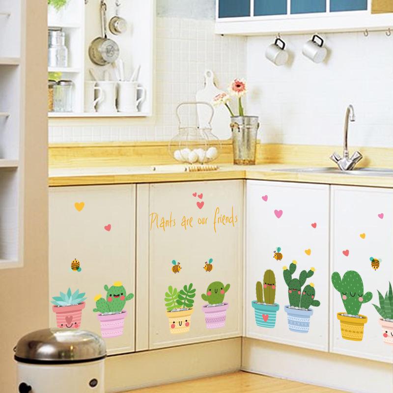 Nette Topfpflanzen Wandaufkleber Vinyl Diy Fr Schrank Wohnzimmer Hintergrund Dekorationen Schlafzimmer Aufkleber