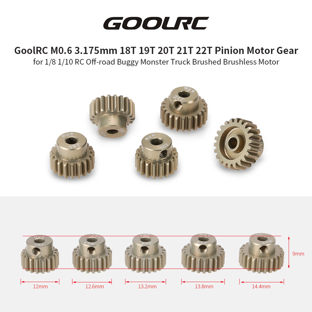 GoolRC M0.6 3.175mm 18T 19T 20T 21T 22T 0.6 Module Pinion Motor Gear for 1/8 1/10 RC Buggy Monster Truck Brushed Brushless Motor goolrc 48dp 3 175mm 16t 17t 18t 19t 20t pinion motor gear for 1 10 rc car brushed brushless motor car p