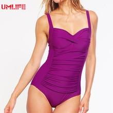 2017 Purple One Piece Swimsuit Plus Size Push Up Swimwear Women 3xl Solid Retro Bandage Tankini Bathing Suit Slimming Bodysuit