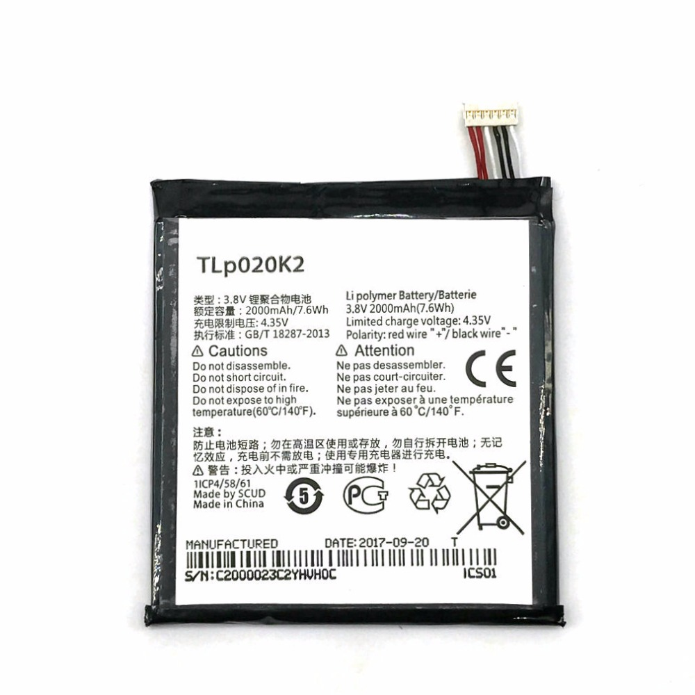 TLp020K2 <font><b>3.8V</b></font> <font><b>2000mAh</b></font> <font><b>Battery</b></font> for Alcatel One Touch 6039H 6039Y 6039K Idol 3 4.7 Inches TLp020Kj mobile phone + Track Code image