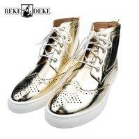 Italien Design Herren Brogue Flügelspitze Silber Gold High Top Casual schuhe Für Mann Schuhe Lace Up Pu-leder Runde Kappe Reiten Botas