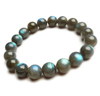 Wholesale 11mm Genuine Natural Labradorite Gems Stone Crystal Round Bead Stretch Bracelet