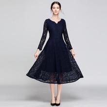 ARiby Women Dress 2019 New Spring Vestido V-Neck Long Sleeve Lace Fashion Casual Slim Elegant Solid High Quality A-Line