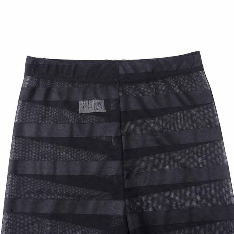 Lato Sexy klub Punk Gothic czarne Push Up kobiety legginsy szary Slim Stripe Mesh Goth legginsy cienkie kobiet mody na co dzień spodnie