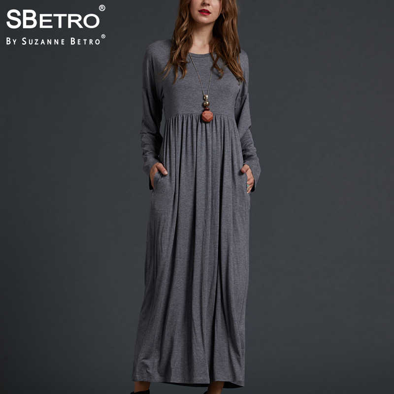 1fbee1ea773d SBetro By Suzanne Betro Casual Solid Long Dress Ladies Knit Jersey Empire  Waist Long Sleeve Autumn
