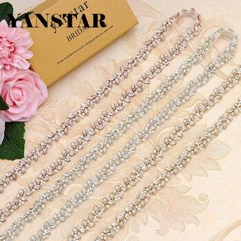 YANSTAR Wholesale Bridal Pearls Wedding Dress Belts Rhinestone Appliques Trim On 10Yards *2cm For Bridal Sash Gold Crystal YS879