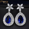 New Fashion Pera Brand Simulated Sapphire Jewelry Big Flower Water Dropping Christmas Party Cubic Zirconia Blue Earrings E224