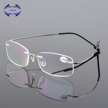 6255d0bac VCKA بدون شفة نظارات للقراءة الرجال التيتانيوم سبائك المرأة مربع النظارات  طويل النظر فرملس النظارات + 1.0 + 1.5 + 2.0 + 2.5