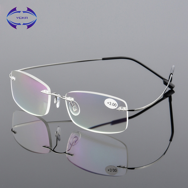 VCKA Rimless Reading Glasses Men Titanium Alloy Women Square Eyeglasses Presbyopic Frameless Eyewear +1.0 +1.5 +2.0 +2.5