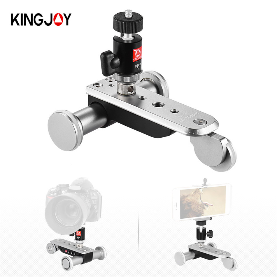 Kingjoy PPL-06S electric 3 wheels Video Car tripod 360 degree head with quick release for Smartphones DSLR video camera doitop smart electric photography slide car 3 wheel video track rail with tripod head for dslr camera camcorder cellphones a3