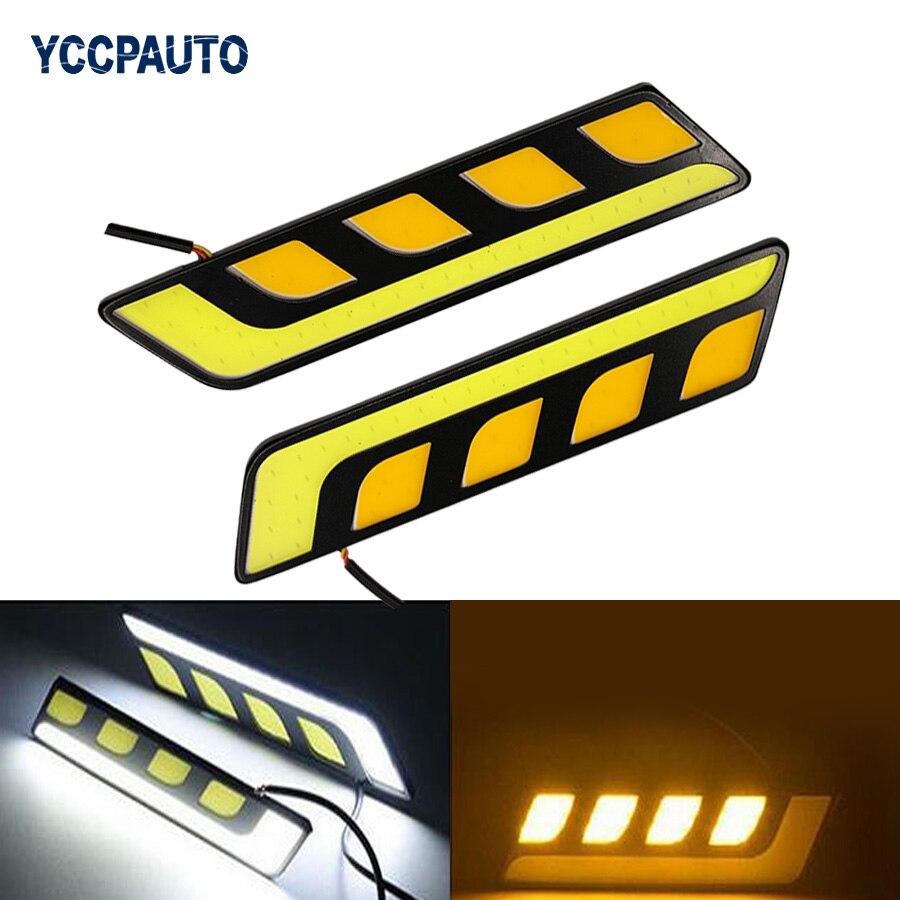 car-styling Daytime Running Lights DRL car LED Lights Waterproof White Amber Dual Color Car Light Source Fog Lamp DC12V 2pcs/lot ...